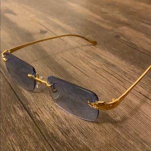 Cartier Rimless Gold Blue Sunglasses